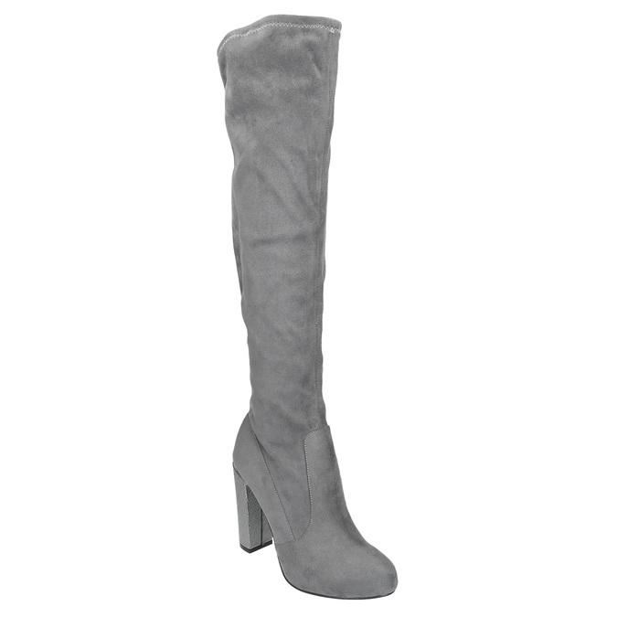 Damskie kozaki za kolano bata, szary, 799-2606 - 13