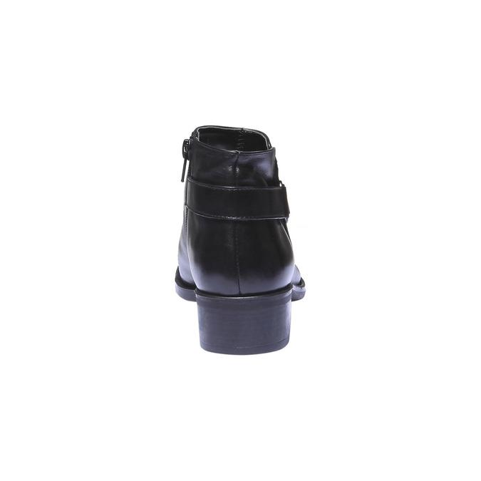 Skórzane botki z paskiem bata, czarny, 694-6159 - 17