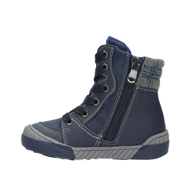 Ocieplane buty dziecięce ze skóry bubblegummer, niebieski, 116-9102 - 26