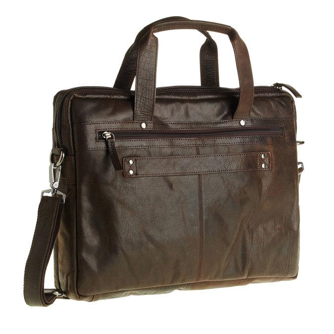 Skórzana torebka z zamkiem bata, brązowy, 964-4101 - 13