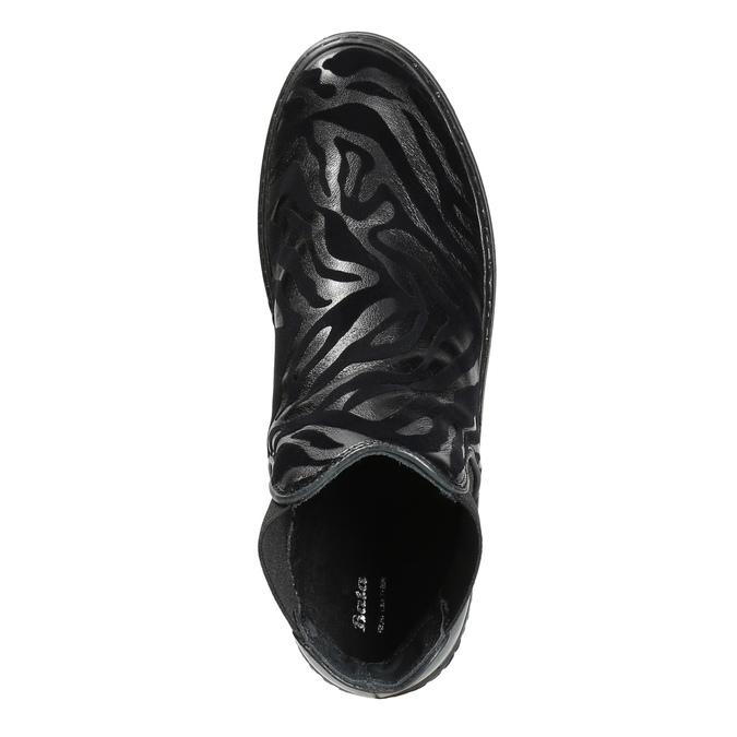 Skórzane botki z deseniem zwierzęcym bata, czarny, 546-6601 - 19