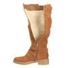 Skórzane kozaki damskie zociepliną bata, brązowy, 593-3600 - 19