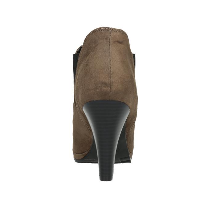 Botki na obcasie z elastycznymi wstawkami po bokach bata, beżowy, 799-2601 - 17