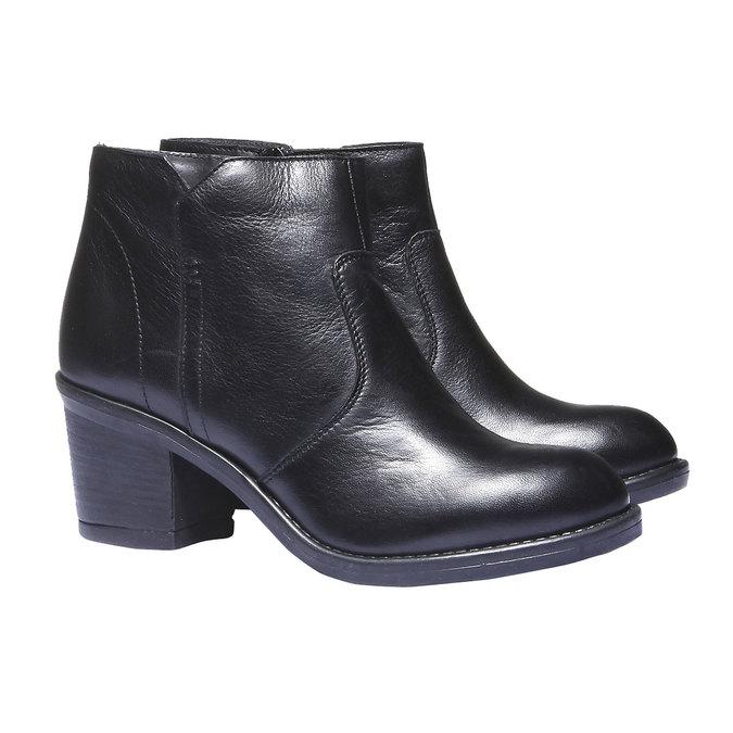 Skórzane botki bata, czarny, 794-6284 - 26