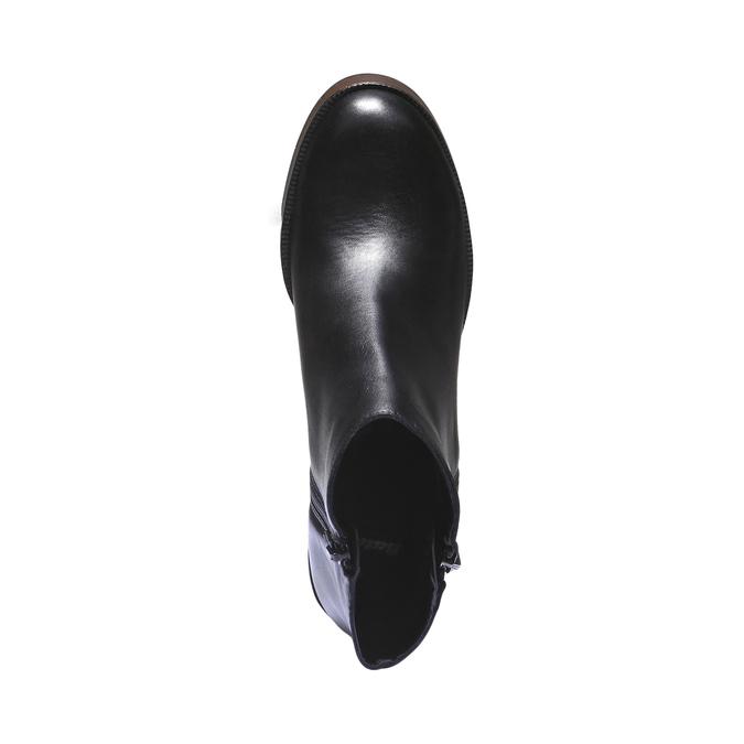 Skórzane buty do kostki na obcasie bata, czarny, 794-6584 - 19