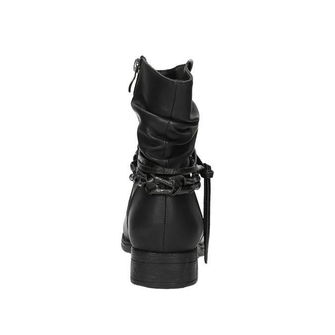 Czarne kozaki do kostki bata, czarny, 591-6610 - 17
