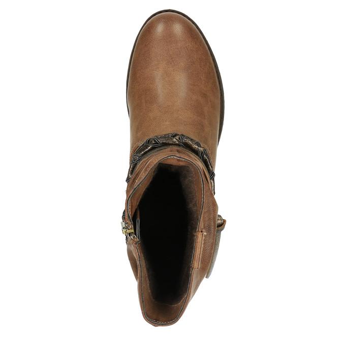 Damskie kozaki do kostki bata, brązowy, 591-4610 - 19