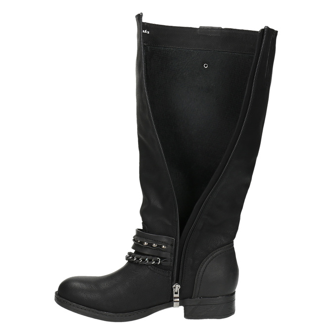 Kozaki damskie bata, czarny, 591-6611 - 19