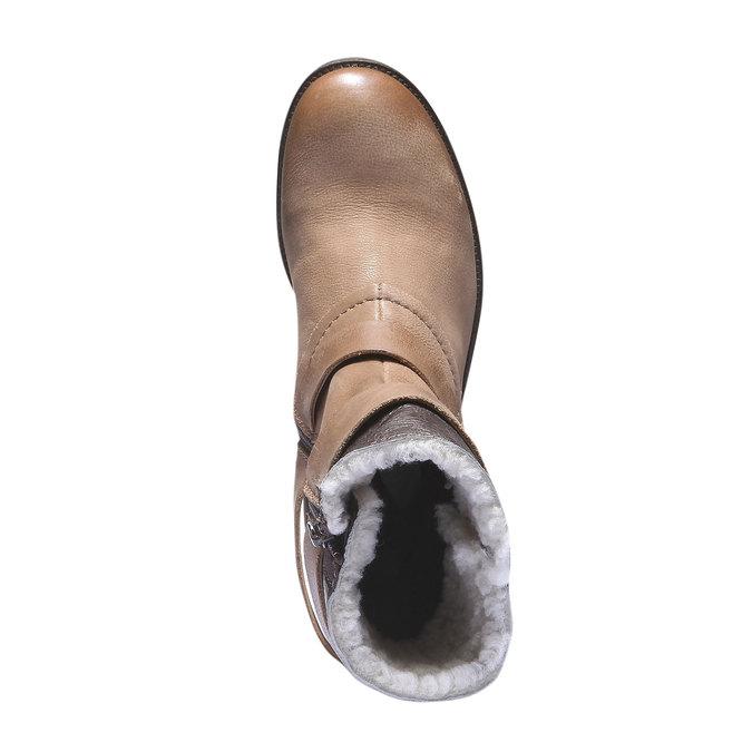 Skórzane kozaki do kostki z paskami bata, brązowy, 696-3101 - 19