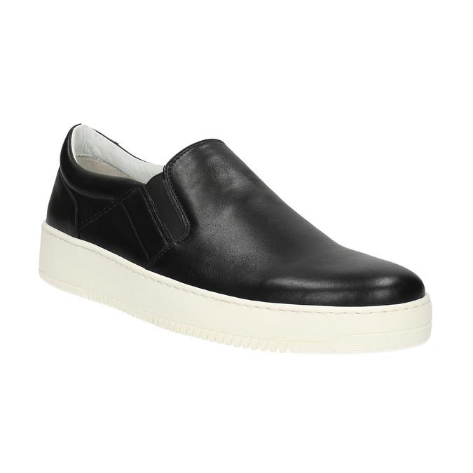 Slip-on męskie ze skóry bata, czarny, 844-6630 - 13