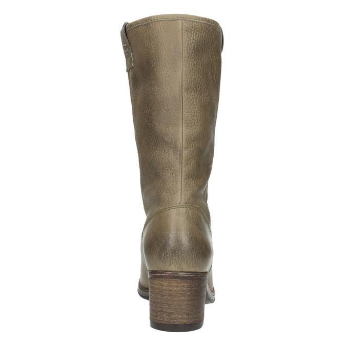Damskie kozaki kowbojki ze skóry bata, brązowy, 696-2607 - 17