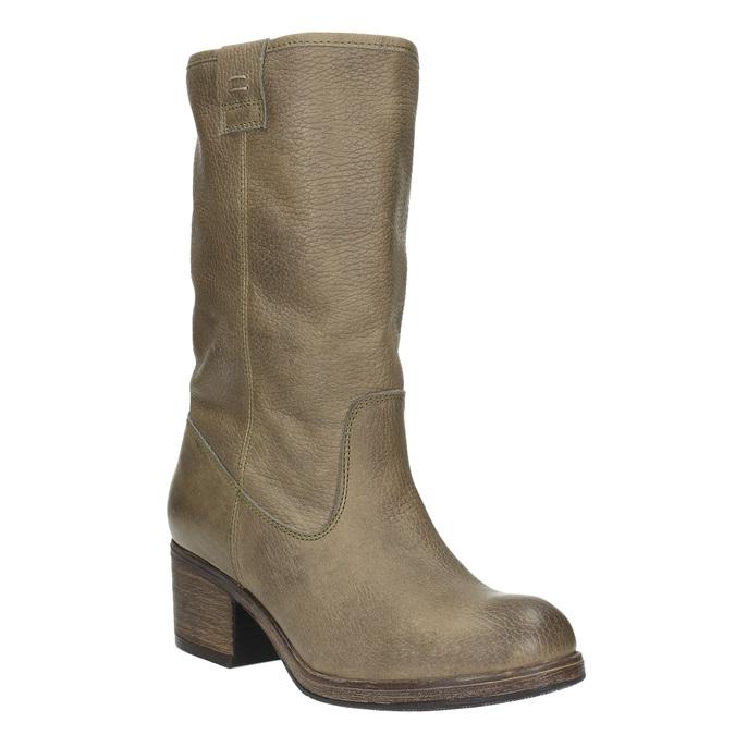 Damskie kozaki kowbojki ze skóry bata, brązowy, 696-2607 - 13