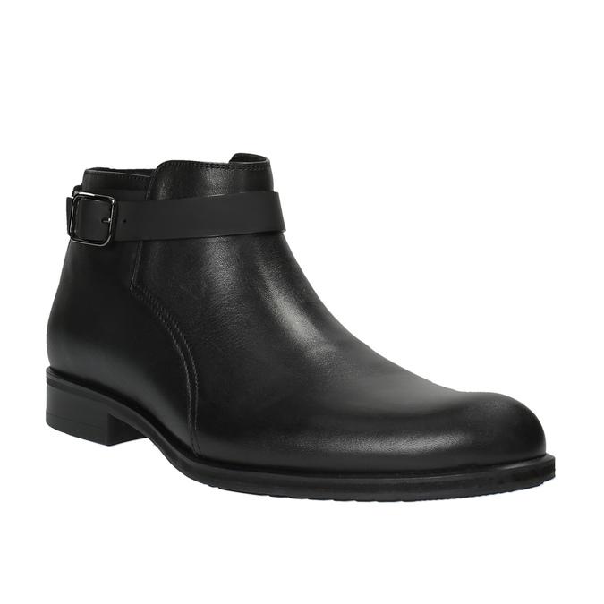 Skórzane buty za kostkę zklamrami conhpol, czarny, 894-6680 - 13