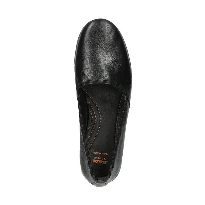 Slip-on damskie ze skóry, z lamówką flexible, czarny, 514-6257 - 19