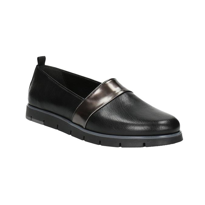 Czarne skórzane slip-on damskie flexible, czarny, 514-6252 - 13