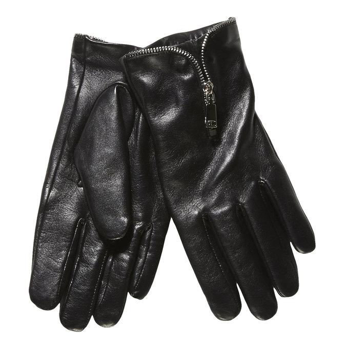 Damskie skórzane rękawiczki z zamkiem bata, czarny, 904-6111 - 13