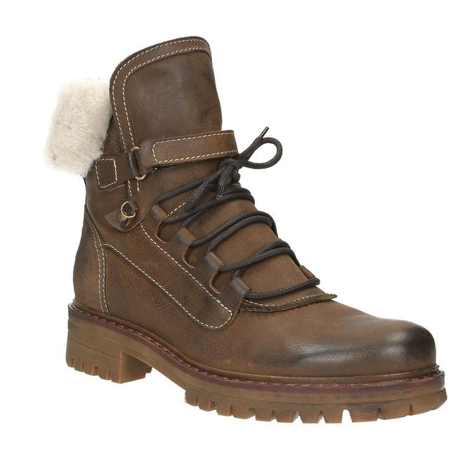 Zimowe skórzane buty damskie manas, brązowy, 596-4602 - 13