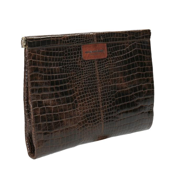 Skórzana kopertówka z krokodylim wzorem vagabond, brązowy, 966-4002 - 13
