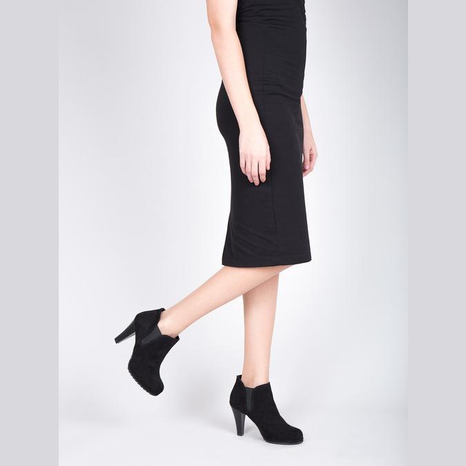 Botki damskie na obcasie, z elastycznymi wstawkami po bokach bata, czarny, 799-6601 - 15