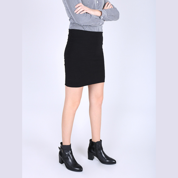 Skórzane botki damskie na obcasie bata, czarny, 796-6609 - 18