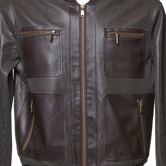 Męska kurtka z perforacją bata, brązowy, 971-4173 - 16