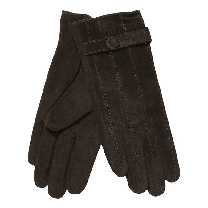 Skórzane damskie rękawiczki z paskiem bata, brązowy, 903-4100 - 13