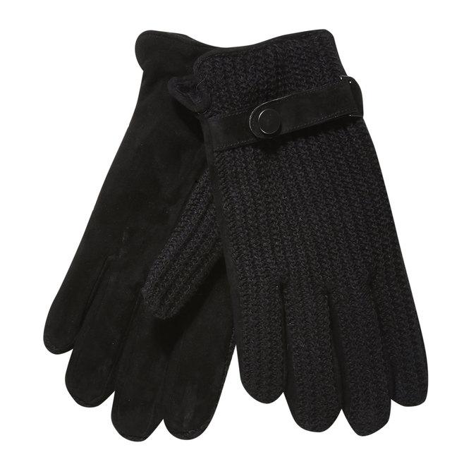 Męskie rękawiczki z dzianiną bata, czarny, 909-6295 - 13