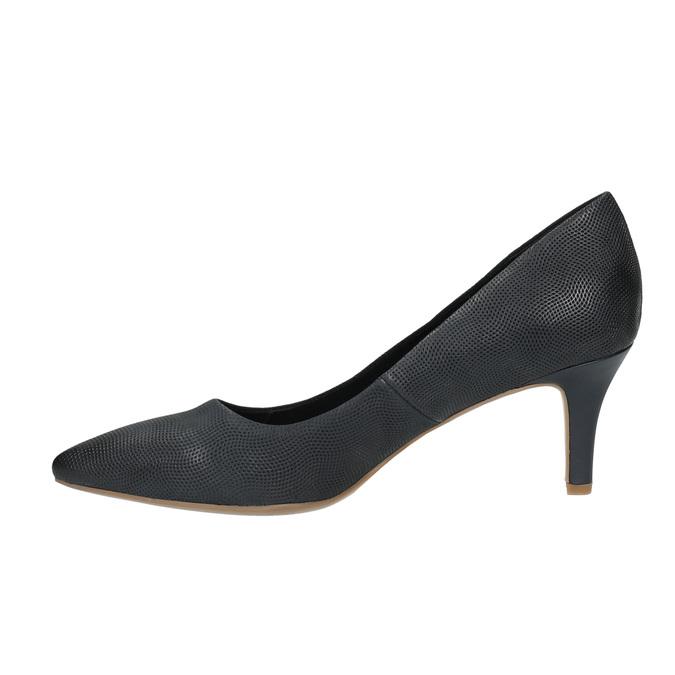 Czółenka damskie na średnio wysokim obcasie bata, czarny, 626-9601 - 26
