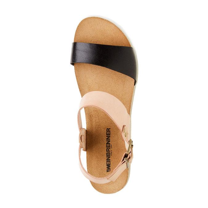Damskie skórzane sandały na białej podeszwie weinbrenner, różowy, 564-6522 - 19