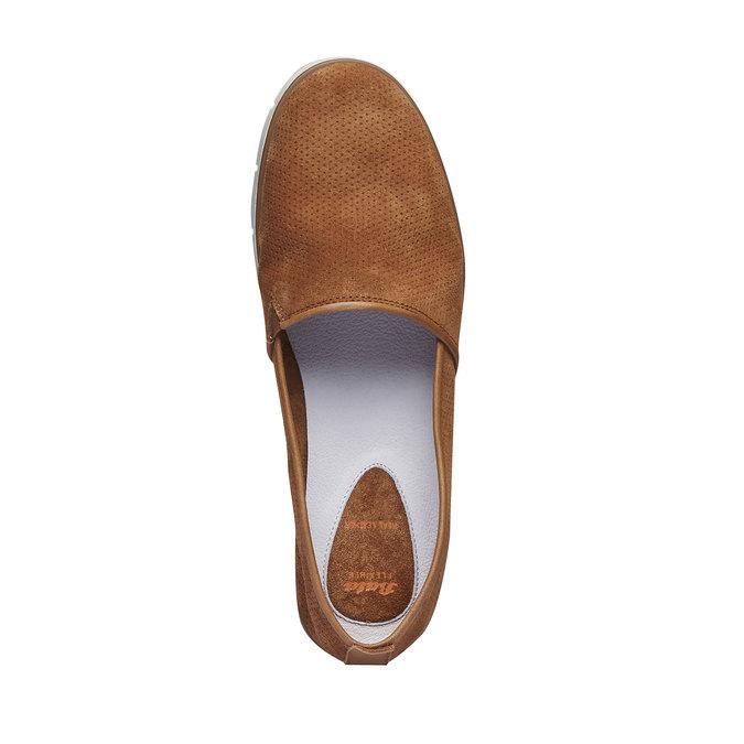 Skórzane buty Slip-on z perforacją flexible, brązowy, 513-3200 - 19