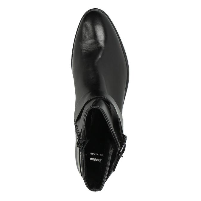 Buty ze skóry za kostkę z klamrą bata, czarny, 594-6602 - 19