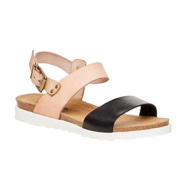 Damskie skórzane sandały na białej podeszwie weinbrenner, różowy, 564-6522 - 13