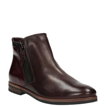 Buty za kostkę ze skóry z suwakami bata, czerwony, 596-5605 - 13