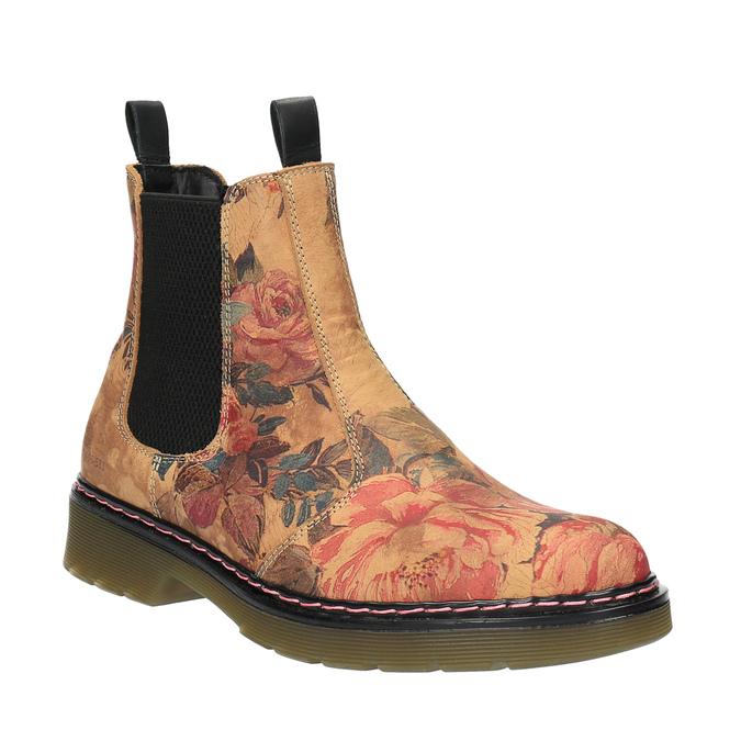 Skórzane Chelsea Boots z kwiatowym wzorem bata, brązowy, 596-3620 - 13
