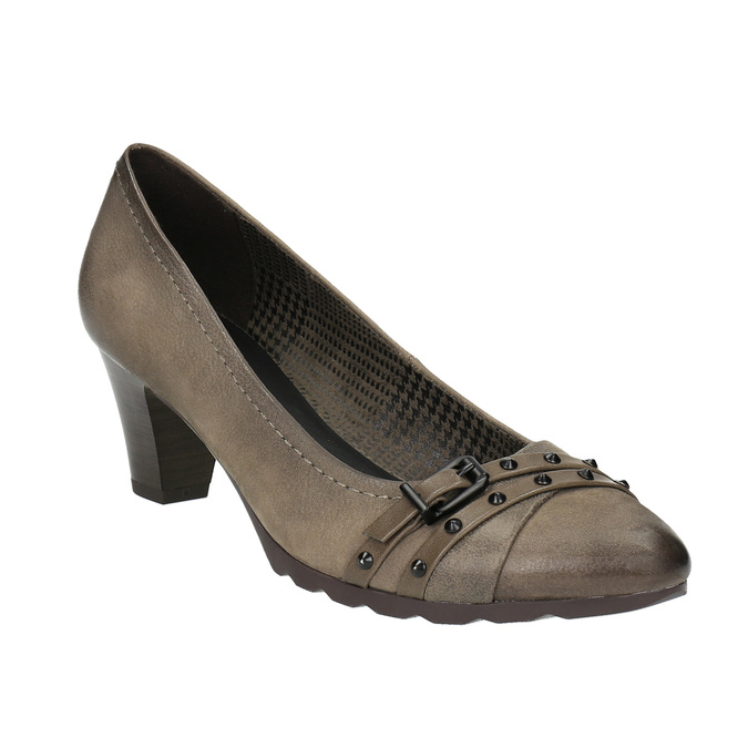 Czółenka damskie ze skóry bata, brązowy, 626-2600 - 13