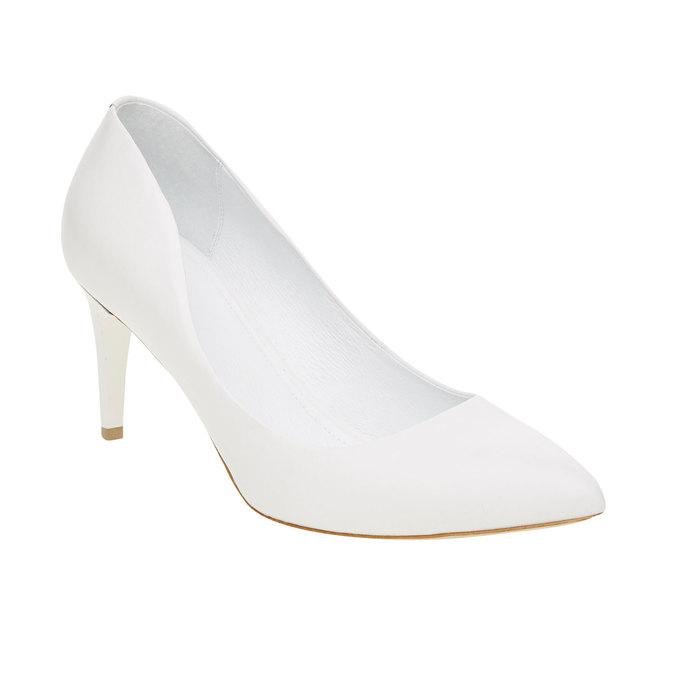 Białe skórzane czółenka bata, biały, 724-1400 - 13