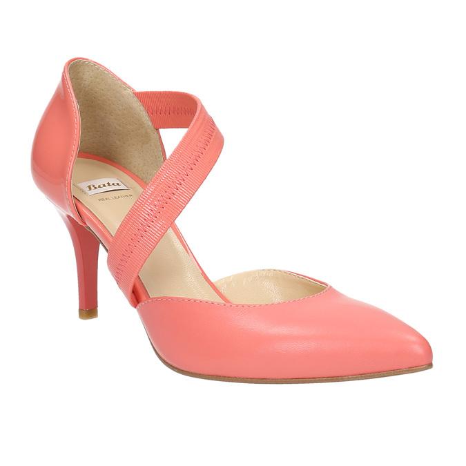 Damskie czółenka w szpic z paskiem na podbiciu bata, różowy, multi color, 724-0904 - 13