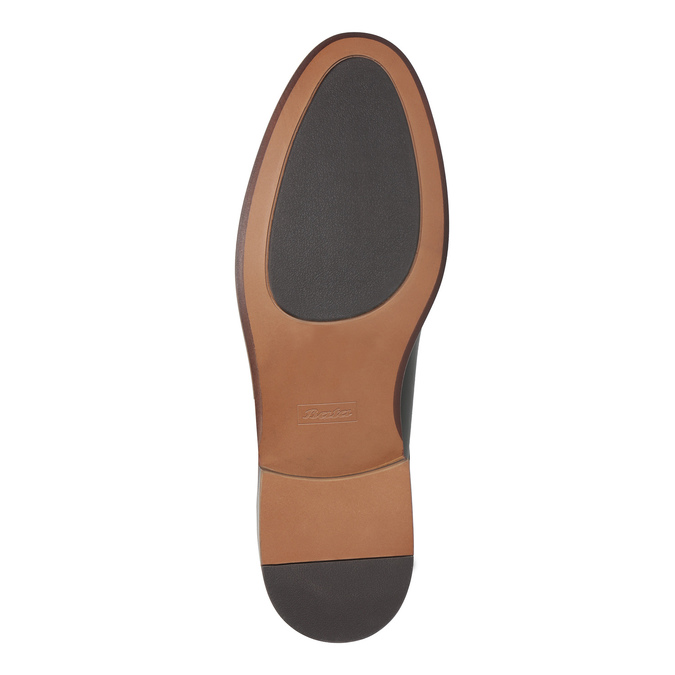 Czarne skórzane półbuty z wyrazistym stębnowaniem bata, czarny, 824-6684 - 26