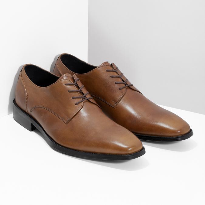 Brązowe skórzane półbuty męskie typu angielki bata, brązowy, 826-3646 - 26