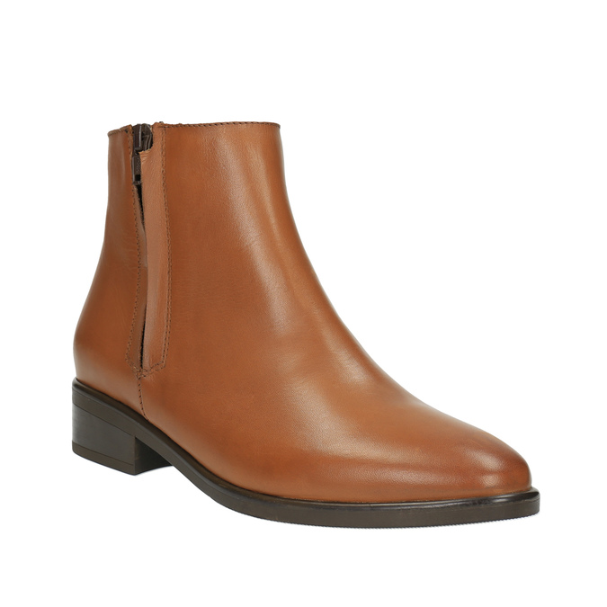 Skórzane botki z suwakami bata, brązowy, 594-3518 - 13