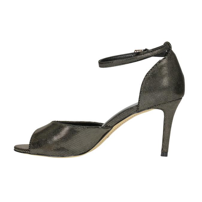 Sandały na szpilce, ze złotymi refleksami bata, czarny, 729-8630 - 26