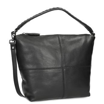 Skórzana torebka z odpinanym paskiem bata, czarny, 964-6233 - 13