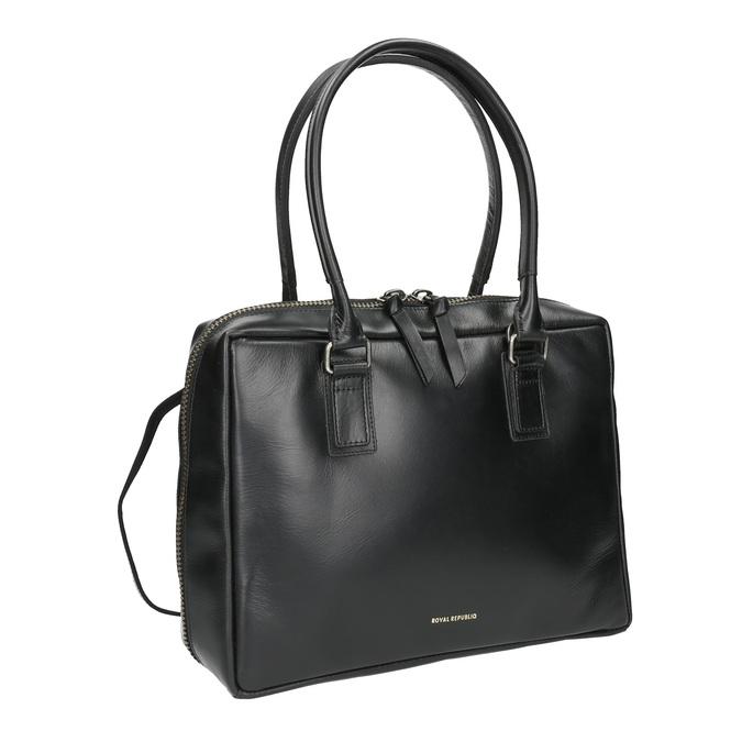 Czarna skórzana torba ze sztywnymi uchwytami royal-republiq, czarny, 964-6014 - 13