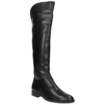 Skórzane kozaki damskie do kolan bata, czarny, 594-6605 - 13