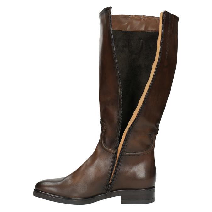 Damskie skórzane kozaki bata, brązowy, 596-3608 - 19