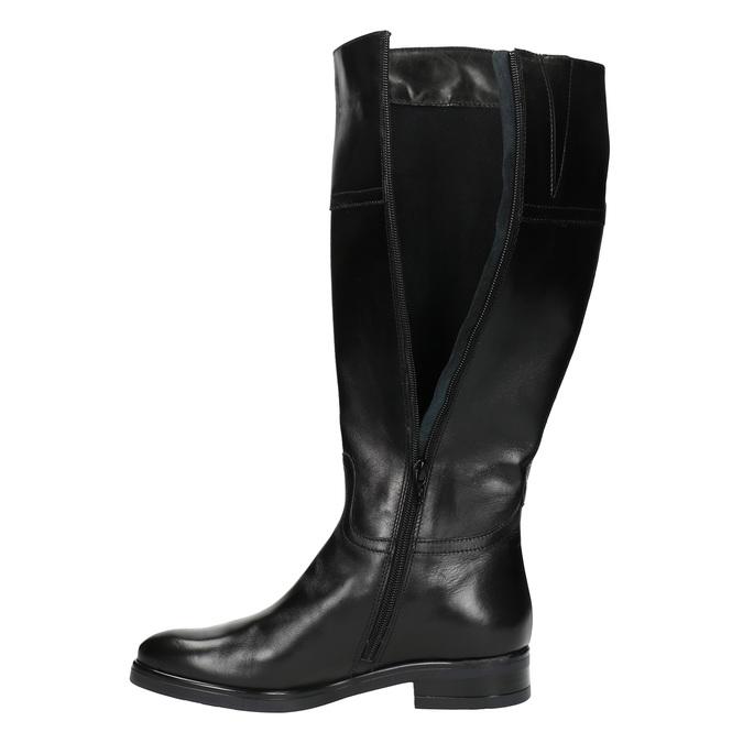 Damskie skórzane kozaki bata, czarny, 594-6606 - 19