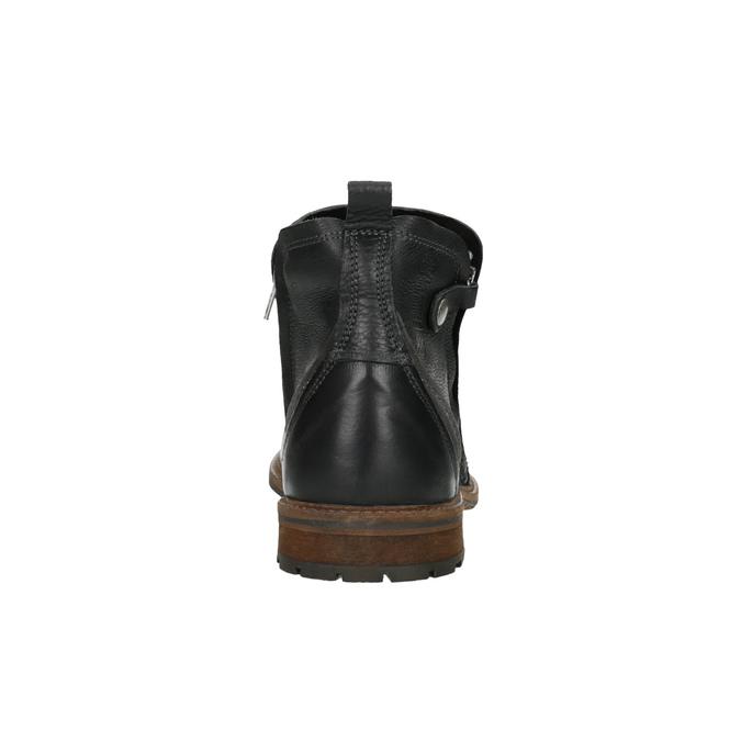 Skórzane buty męskie za kostkę bata, czarny, 894-6660 - 17