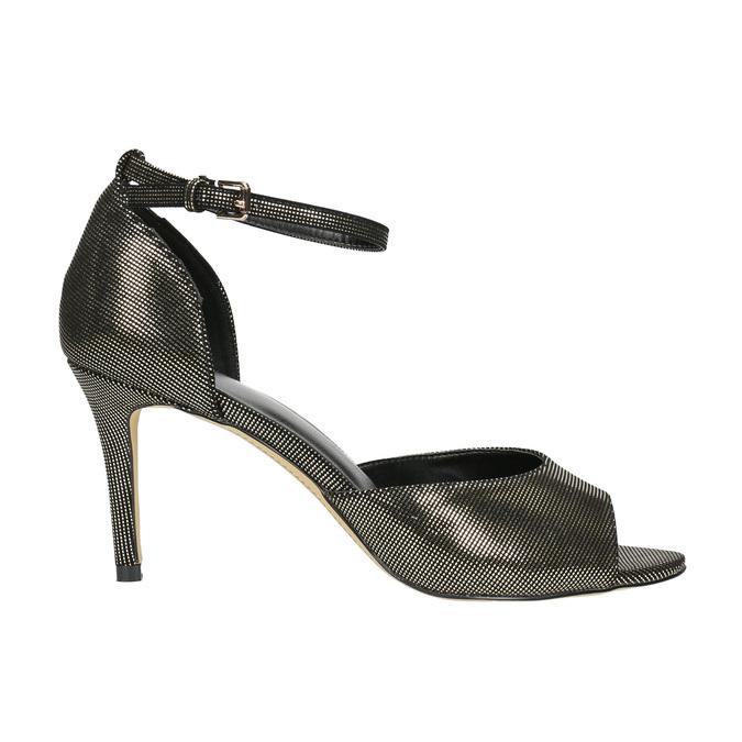 Sandały na szpilce, ze złotymi refleksami bata, czarny, 729-8630 - 15