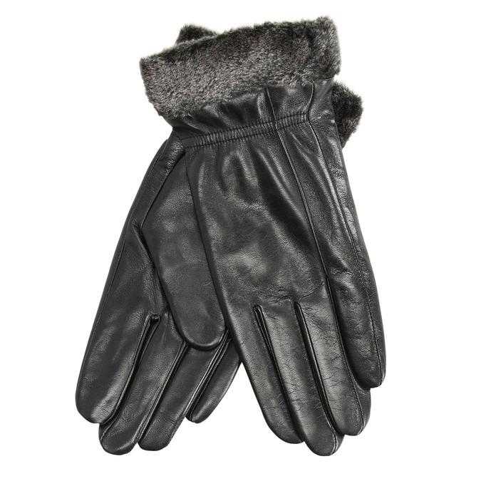 Skórzane damskie rękawiczki z futerkiem bata, czarny, 904-6112 - 13