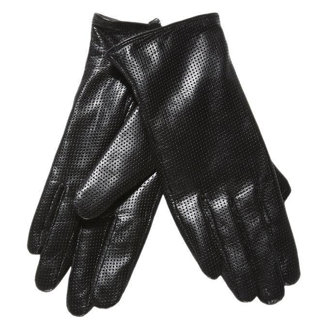 Damskie skórzane rękawiczki z perforacją bata, czarny, 904-6114 - 13
